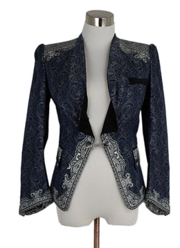 Balenciaga Blue Grey Paisley Silk Jacket 1