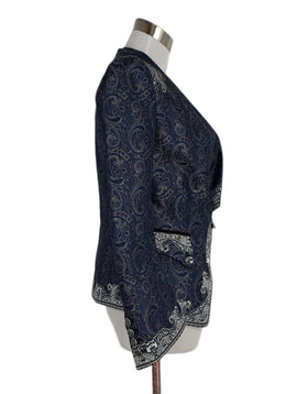 Balenciaga Blue Grey Paisley Silk Jacket 2