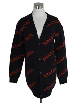Balenciaga Navy and Red Logo Cardigan sz. 2 | Balenciaga
