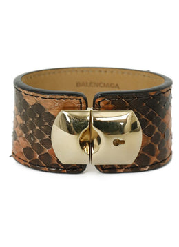 Balenciaga Brown Python Gold Metal Jewelry Bracelet 2