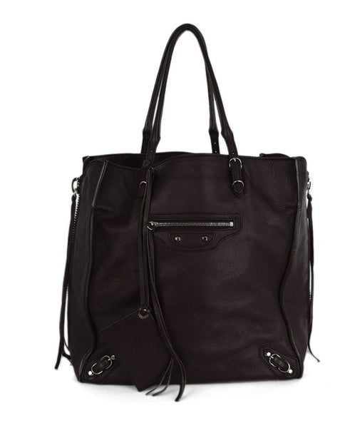 Balenciaga Brown Wine Leather Tote  Handbag 1