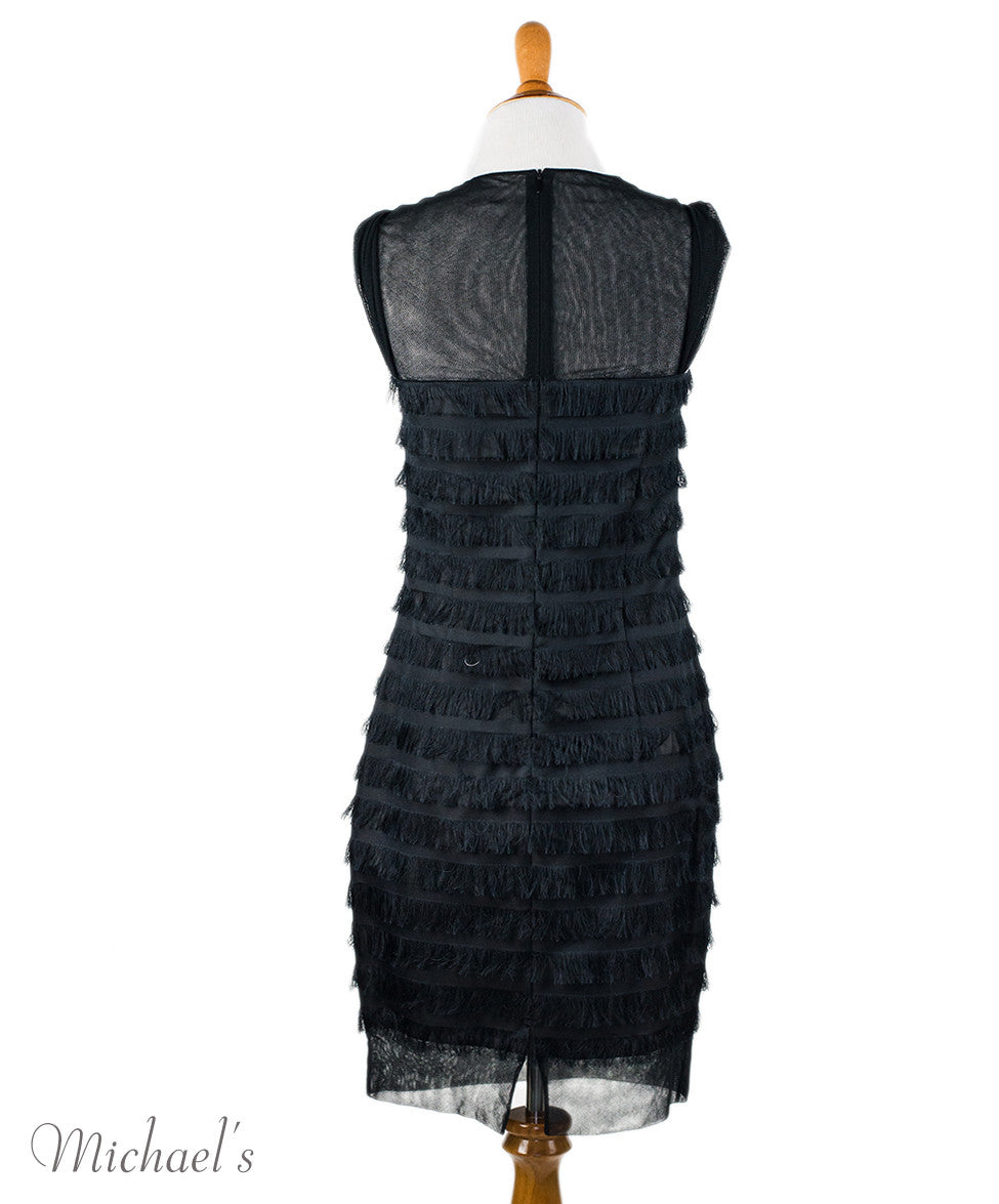 Balenciaga Black Silk Tiered Fringe Dress Sz 38 - Michael's Consignment NYC  - 3