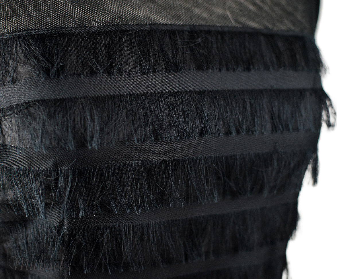 Balenciaga Black Silk Tiered Fringe Dress Sz 38 - Michael's Consignment NYC  - 4