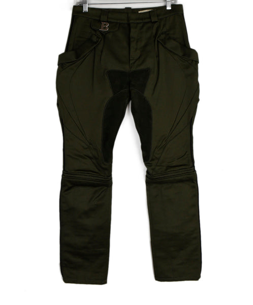 Balenciaga Olive Cotton Suede Trim Pants 1