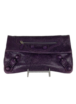 Balenciaga Purple Leather Clutch Handbag 1