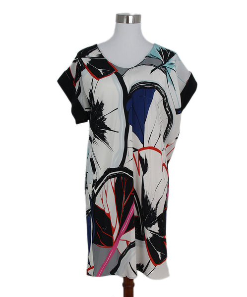 Balenciaga white black blue print dress 1