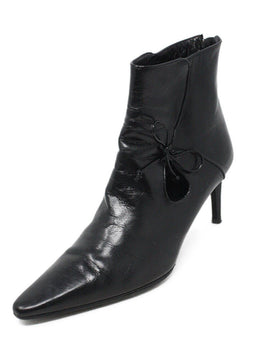 Bally Black Leather Bow Trim Booties