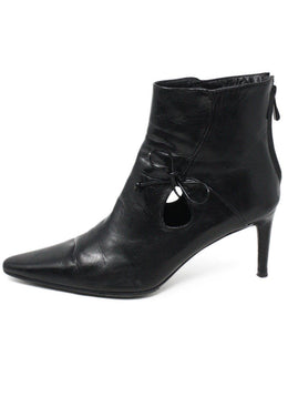 Bally Black Leather Bow Trim Booties 1