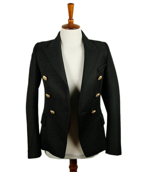 Balmain Black Viscose Gold Buttons Jacket Sz 34