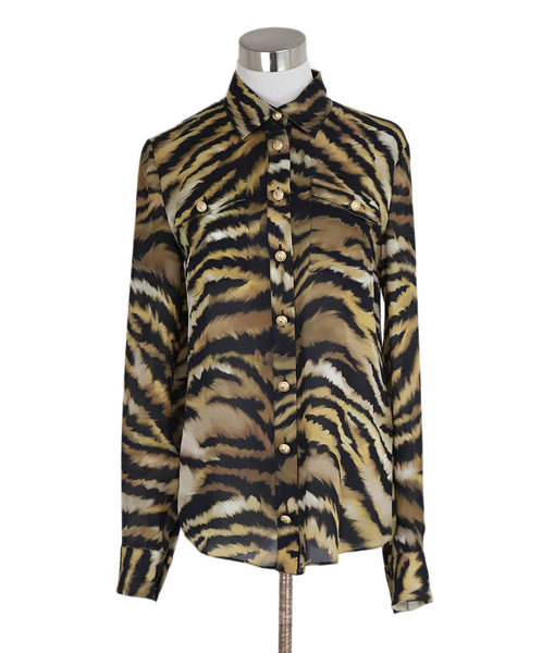 Balmain Animal Print Silk Top sz. 36 | Balmain