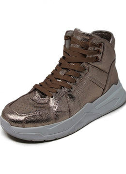 Balmain Metallic Rose Gold Leather Sneakers 1