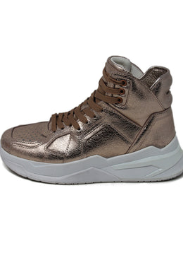 Balmain Metallic Rose Gold Leather Sneakers 3