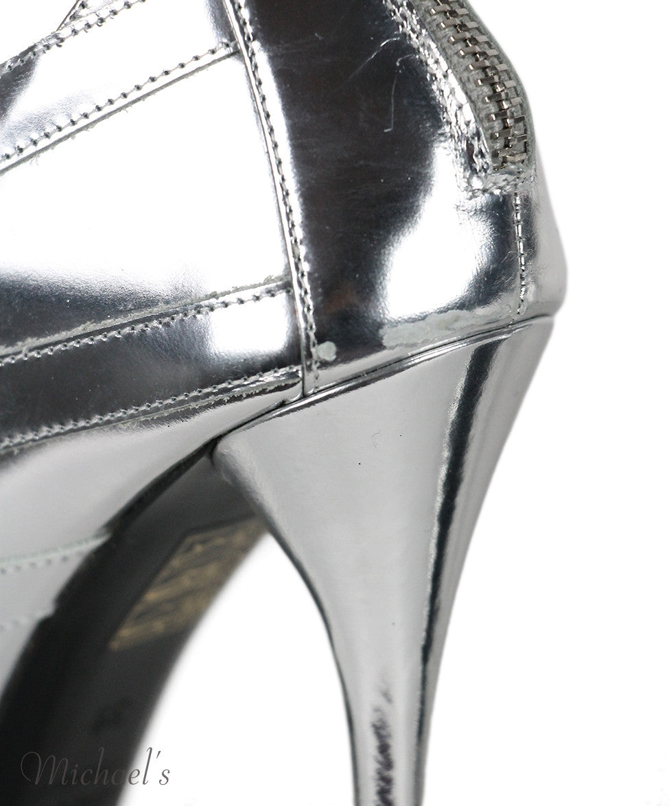 Balmain Silver Metallic Leather Heel Booties Sz 39