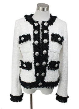Balmain White and Black Tweed Jacket with Large Silver Buttons 1
