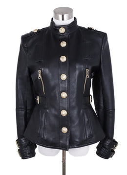 Balmain Black Leather Gold Hardware Jacket 1