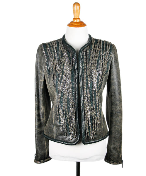 Barbara Bui Black Distressed Leather Metal Detail Jacket Sz 38