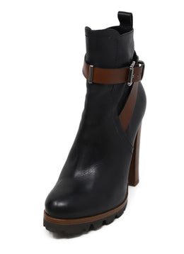 Barbara Bui Black Leather Brown Trim Boots