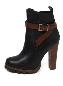 Barbara Bui Black Leather Brown Trim Boots 1