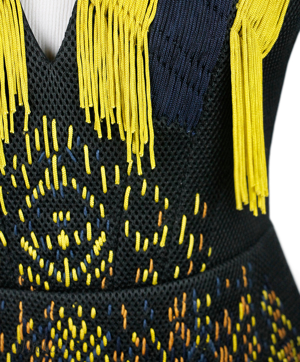 Barbara Bui Black Yellow Nylon Lamb Trim Beaded Dress Sz 2