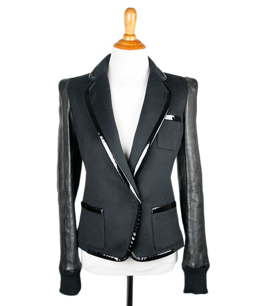 Barbara Bui Black Wool Patent Leather Trim Jacket Sz 2