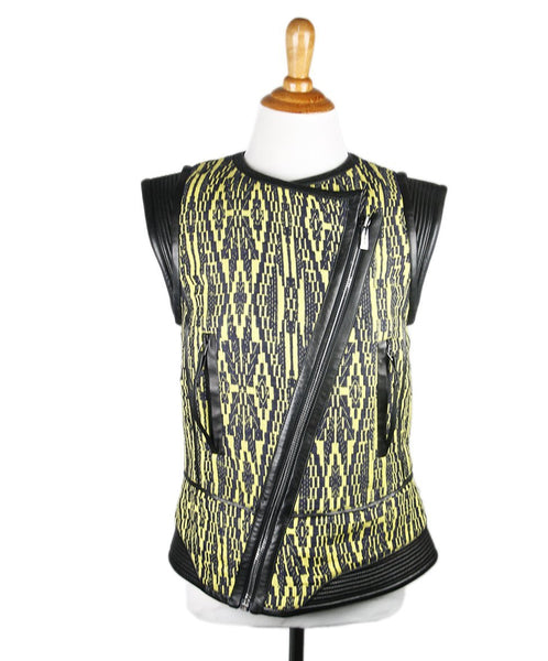 Barbara Bui Black Yellow Leather Silk Vest Sz 38