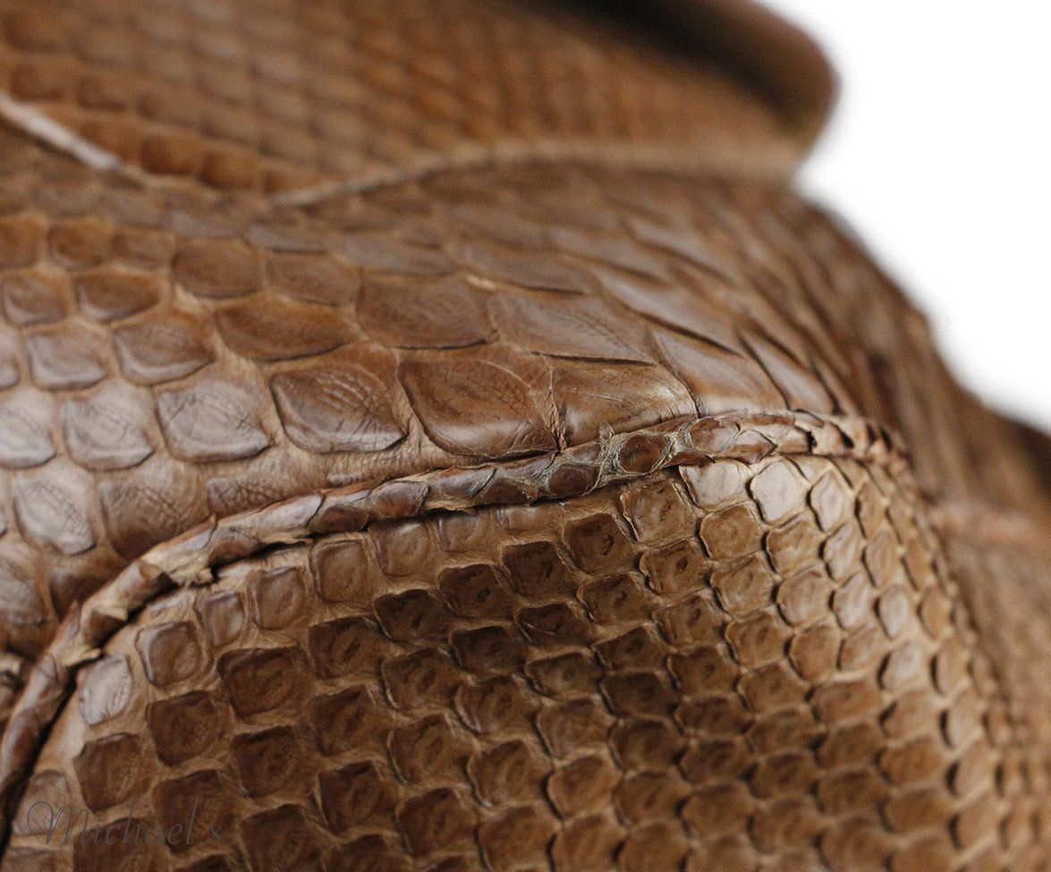 "Barbara Bui ""Dude Travel"" Brown Snake Skin Handbag"