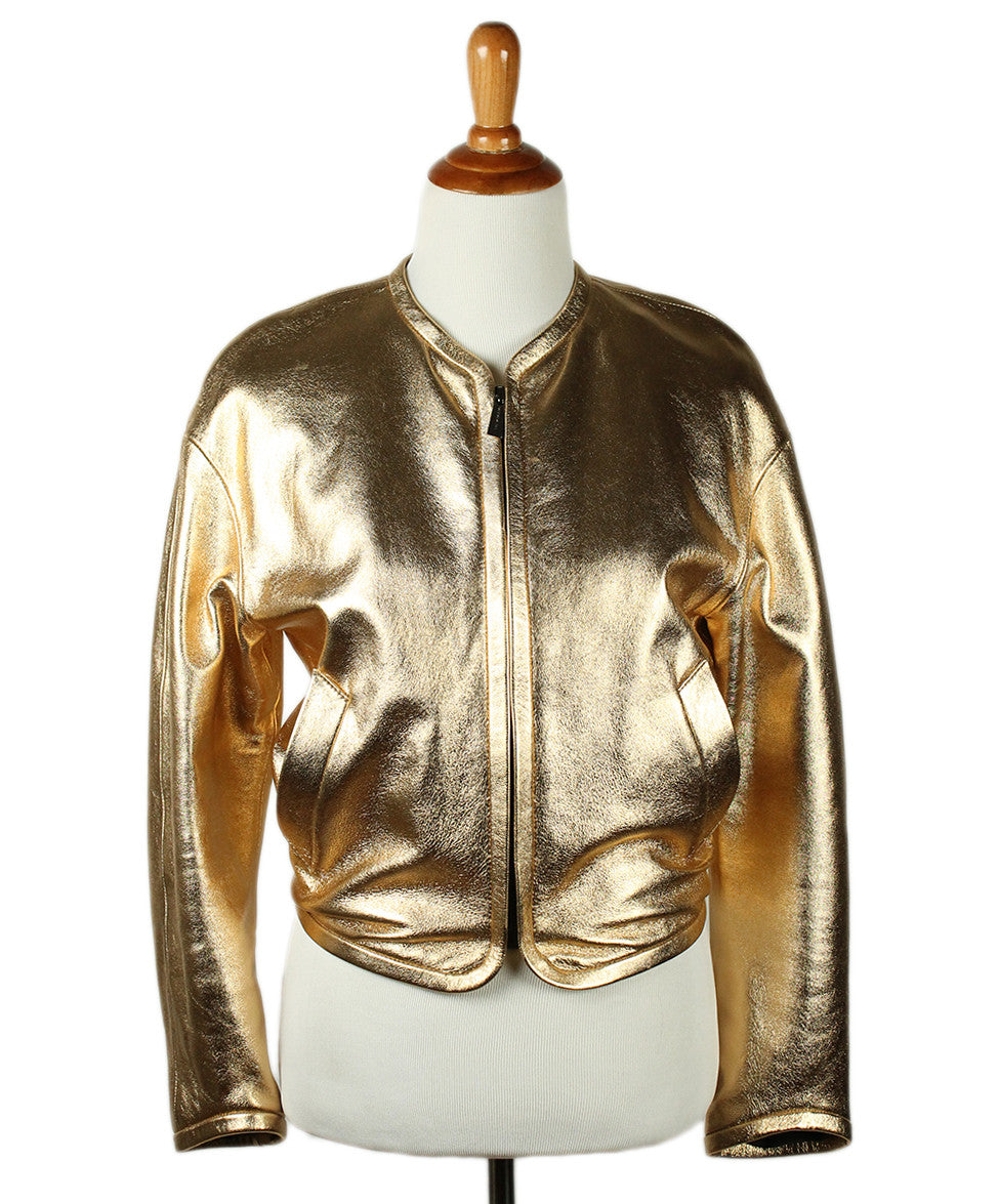Barbara Bui Limited Edition Runway 2012 Gold Lamb Leather Jacket Sz 6 - Michael's Consignment NYC  - 1