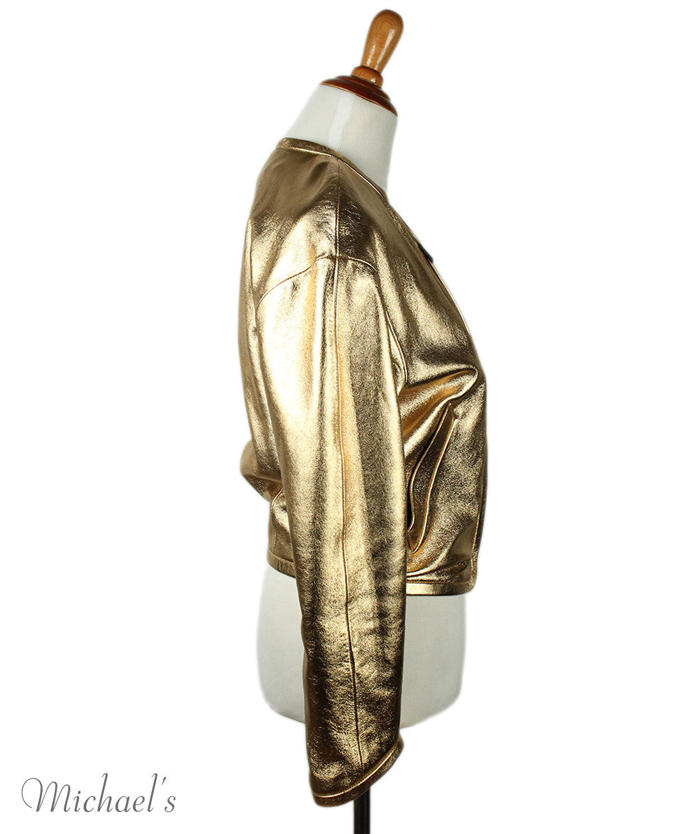 Barbara Bui Limited Edition Runway 2012 Gold Lamb Leather Jacket Sz 6 - Michael's Consignment NYC  - 2