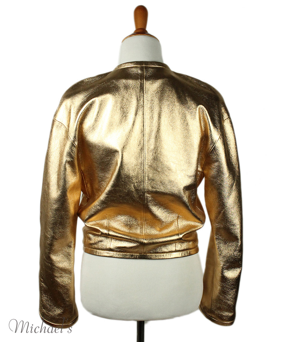 Barbara Bui Limited Edition Runway 2012 Gold Lamb Leather Jacket Sz 6 - Michael's Consignment NYC  - 3