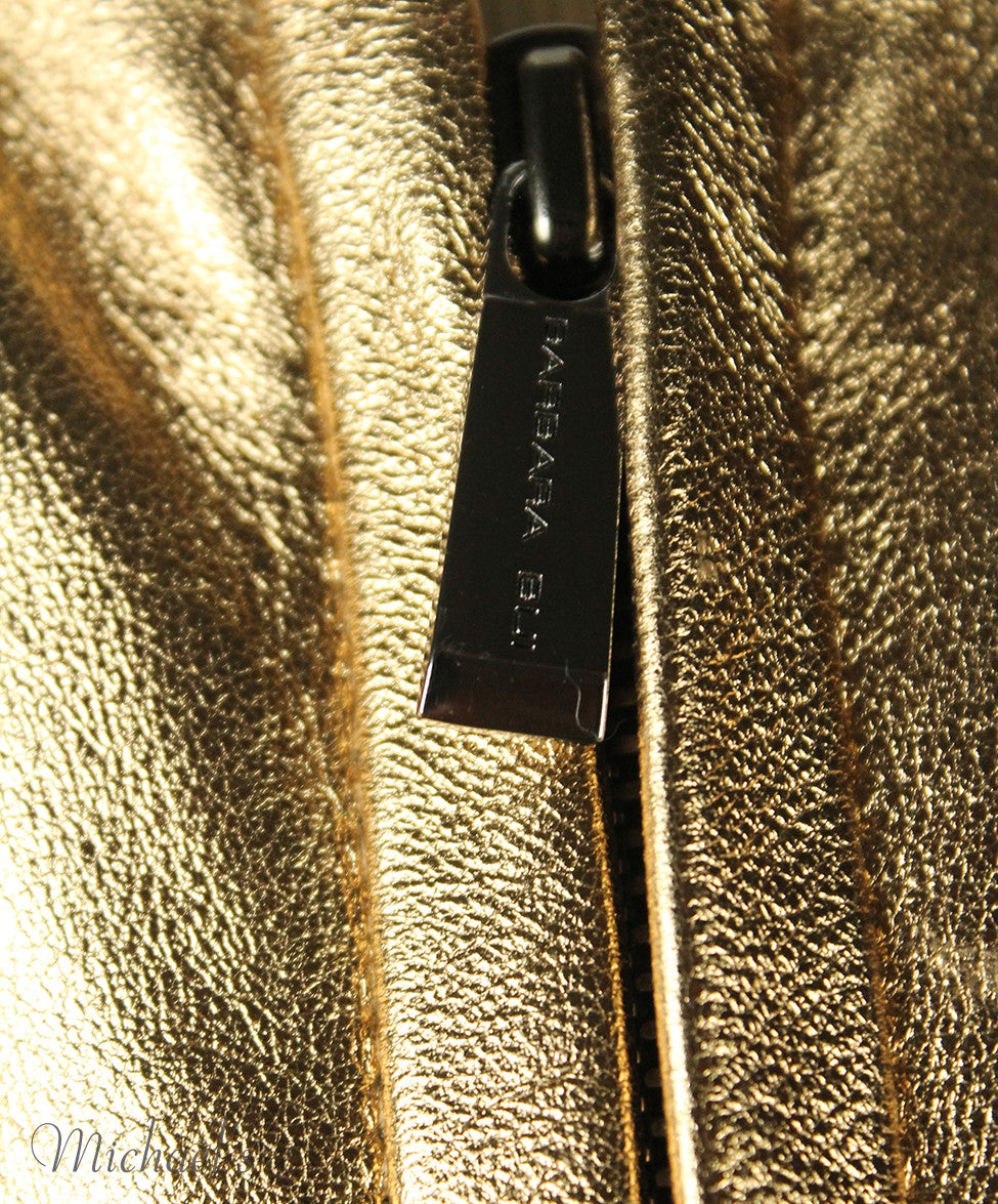 Barbara Bui Limited Edition Runway 2012 Gold Lamb Leather Jacket Sz 6 - Michael's Consignment NYC  - 4