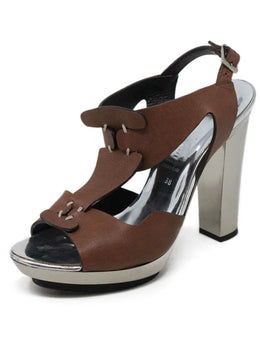 Barbara Bui Metallic Silver Brown Leather Shoes