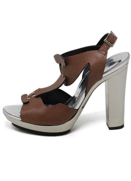 Barbara Bui Metallic Silver Brown Leather Shoes 1