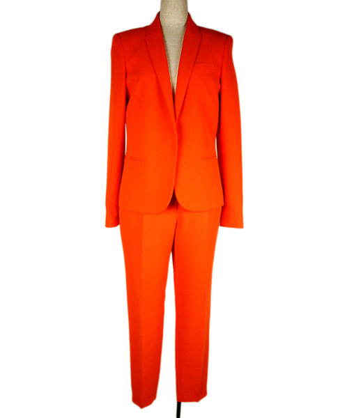 Barbara Bui Orange Polyester 2pc Pant Suit Sz 38
