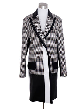 Barbara Bui Black White Herringbone Wool Leather Coat 1