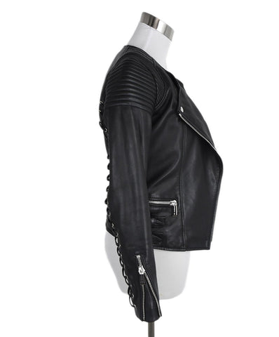 Barbara Bui Black Leather Lace Up Detail Jacket Outerwear 1