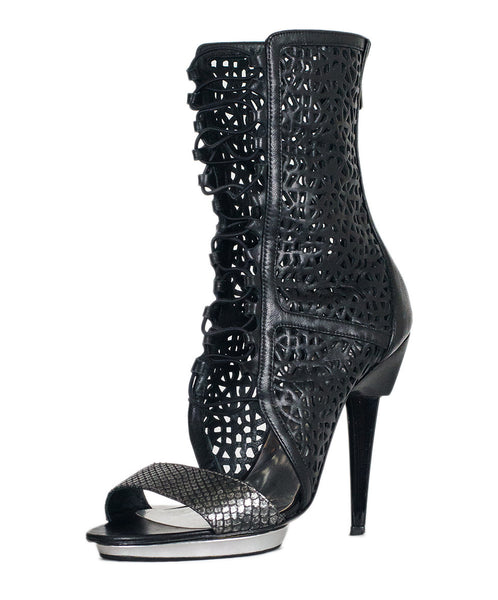 Barbara Bui Black Cut Work Leather Silver Python Boots Sz 37.5 - Michael's Consignment NYC  - 1