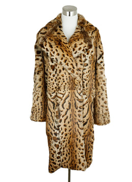 Barbara Bui Brown Animal Print Rabbit Fur Coat 1