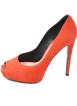 Barbara Bui Orange Suede Peep Toe Heels 2