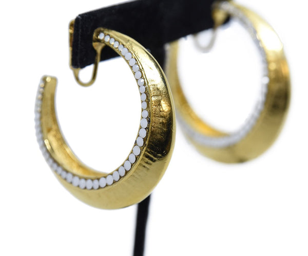 Barrera Gold Plated White Opal Stone Hoop Earrings | Barrera