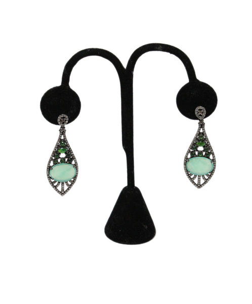Bavna Sterling Silver Diamond Chrysoprase Earrings 1