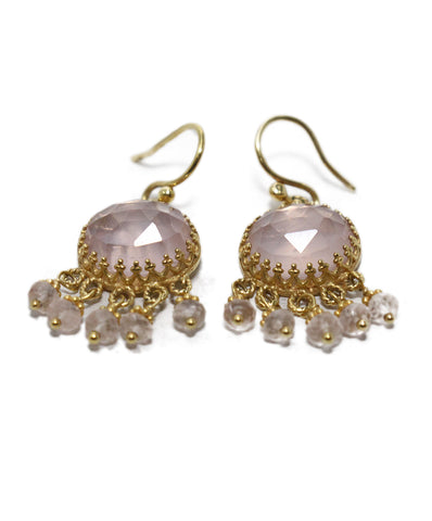 Becky Kelso 18 K Gold Pink Quartz Earrings 1