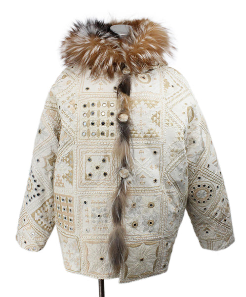 Beige Tan Embroidery Fox Reversible Fur Outerwear 1