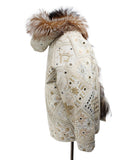 Beige Tan Embroidery Fox Reversible Fur Outerwear 2