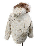 Beige Tan Embroidery Fox Reversible Fur Outerwear 3