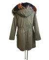 Olive Green Fur Trim Removable Rabbit Lining Coat 3