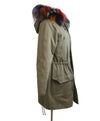 Olive Green Fur Trim Removable Rabbit Lining Coat 2