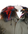 Olive Green Fur Trim Removable Rabbit Lining Coat 6
