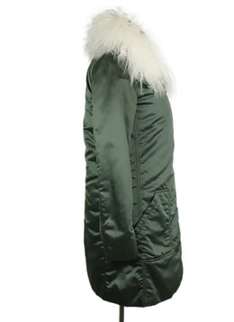 Belstaff x Liv Tyler Green Nylon White Faux Fur Trim Coat 4
