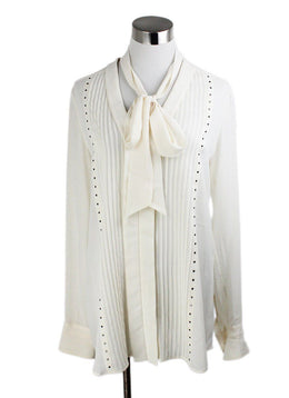 Belstaff Neutral Ivory Silk Studded Longsleeve Top 1