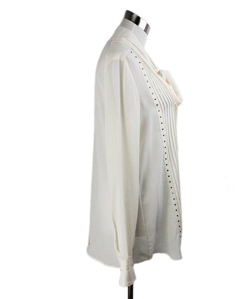 Belstaff Neutral Ivory Silk Studded Longsleeve Top 2
